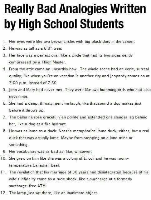Really bad analogies