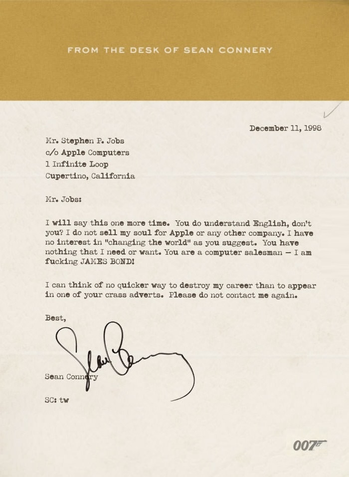 Sean Connery's Letter