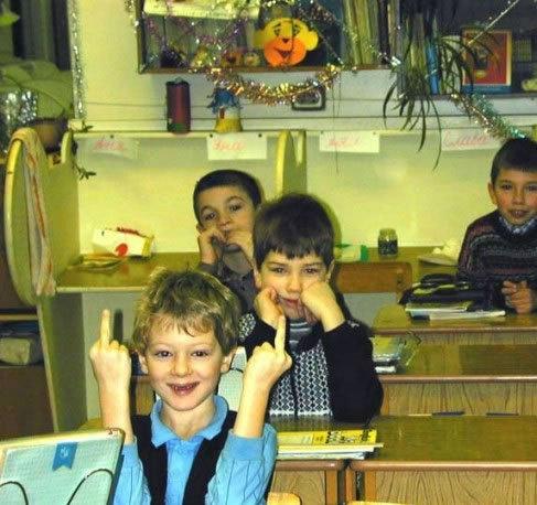Kid Gives Finger