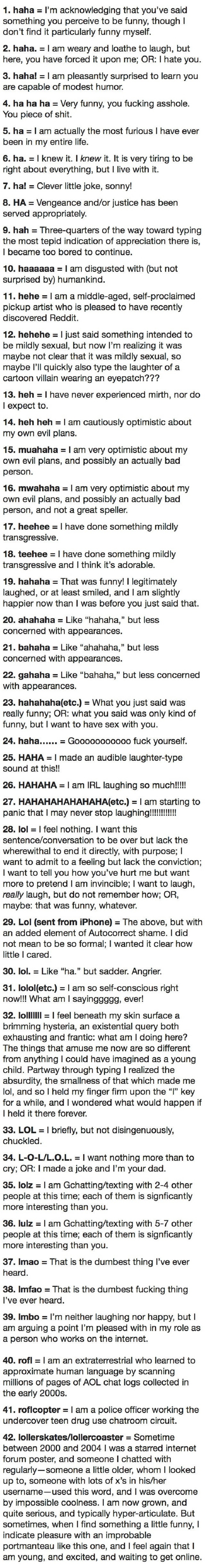 42 ways to type laughter