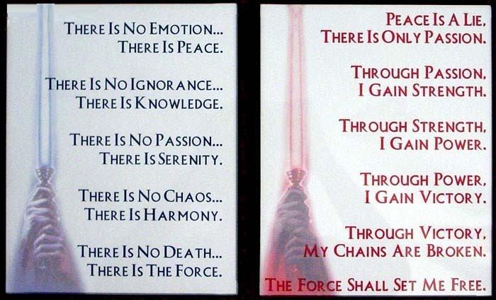 Jedi code VS Sith code