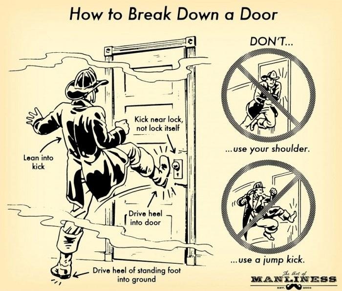 Breaking down a door..