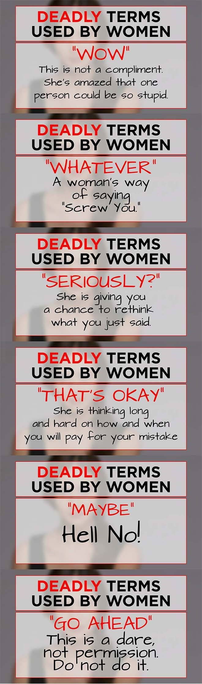 Deadly terms used by women