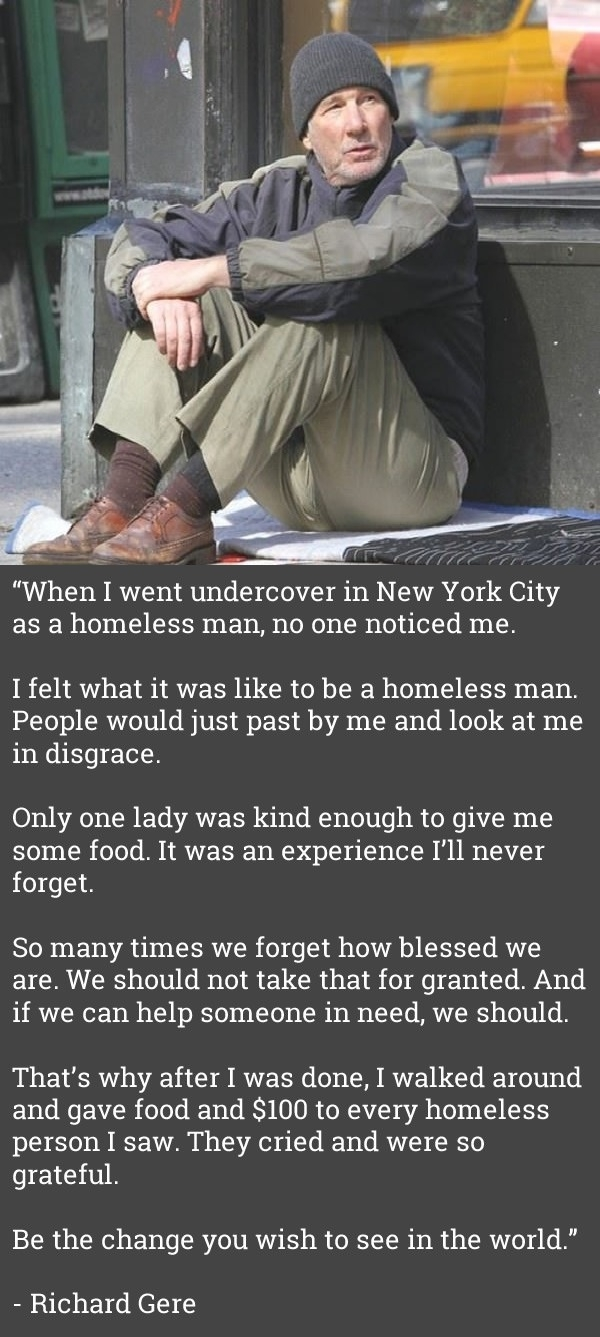 Richard Gere homeless