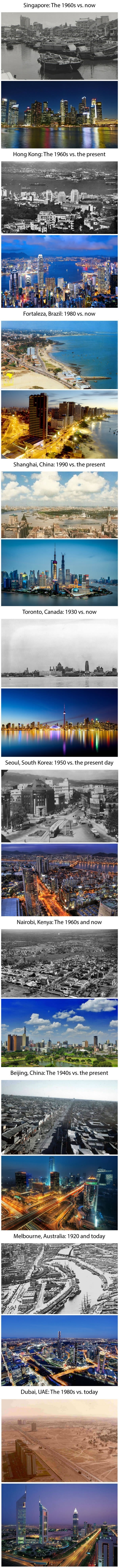 Cities now and then