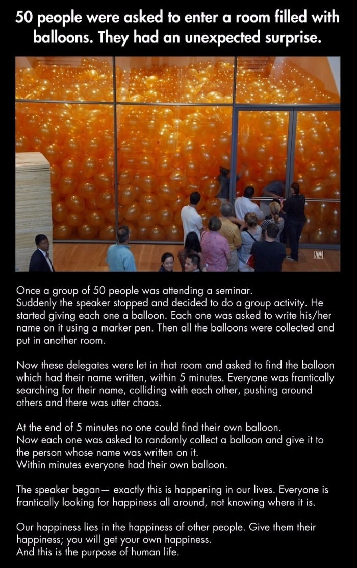 50 people were asked to enter a room filled with balloons
