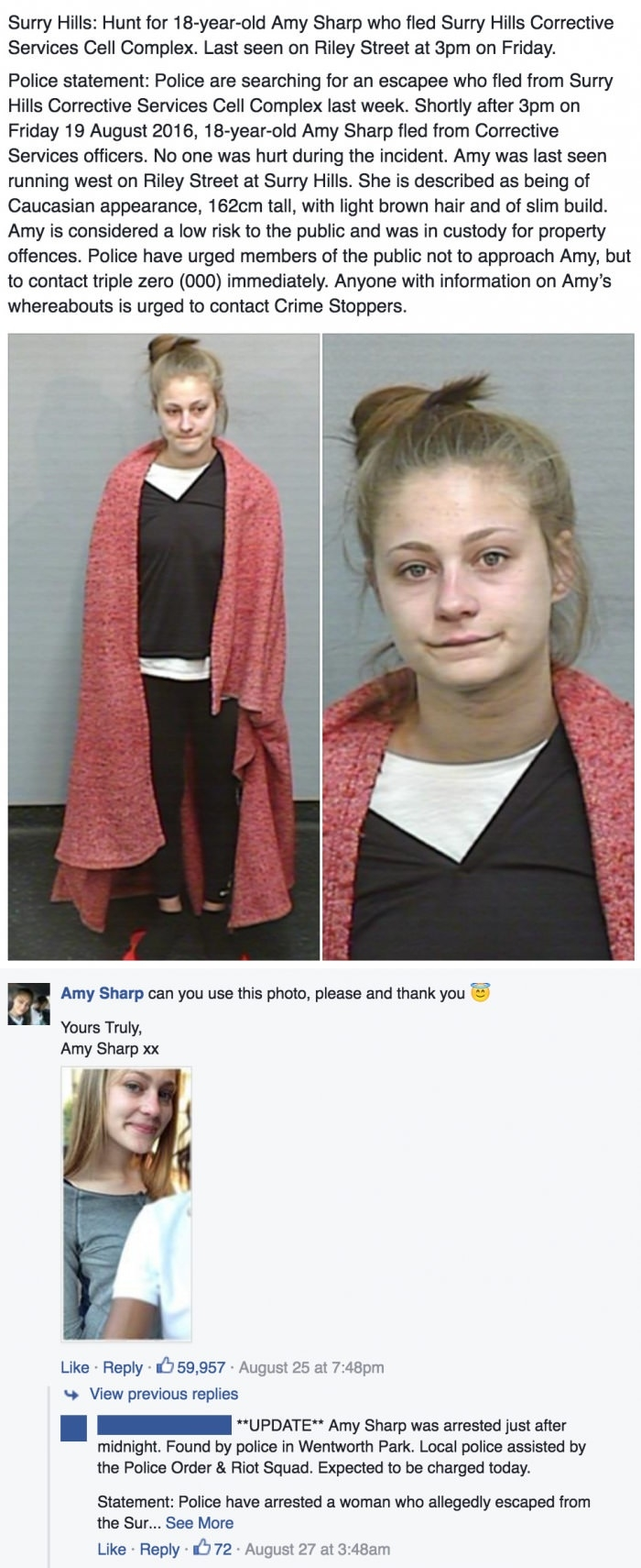 Teen on the run asks police on fb to use better photo of her