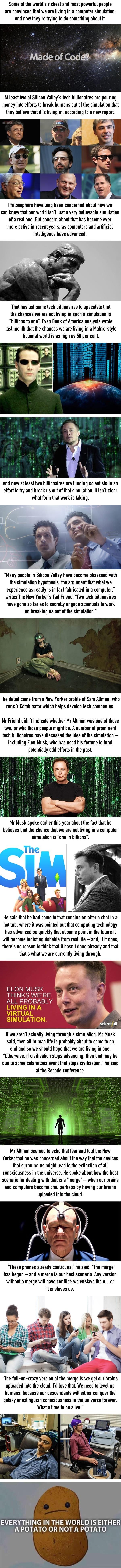 Tech billionaires are convinced we live in the matrix