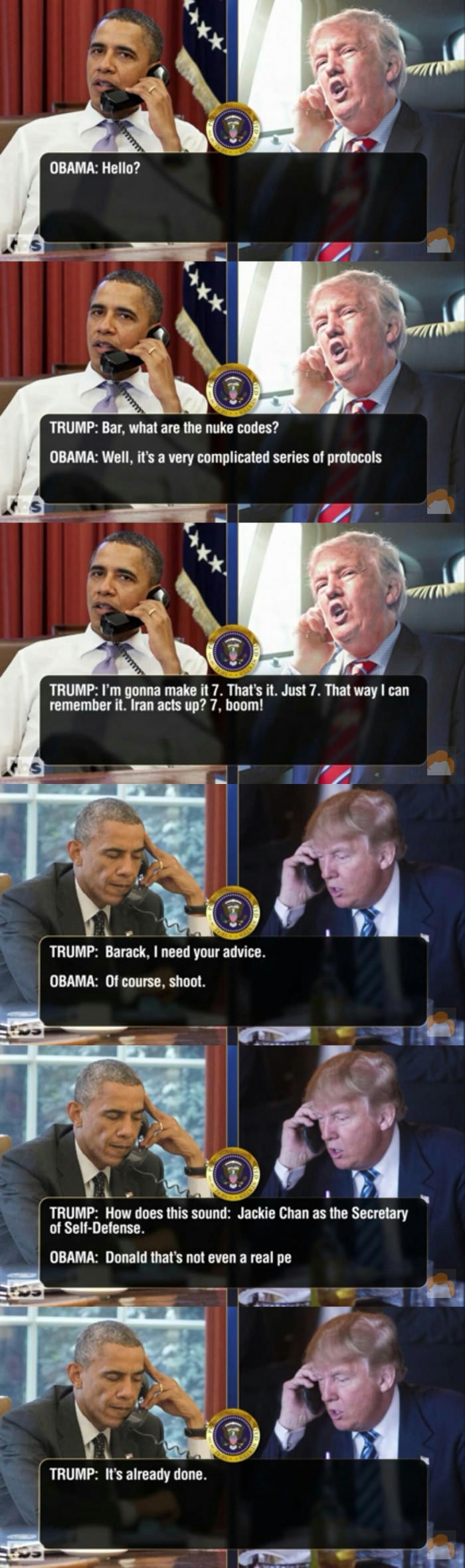 Leaked transcripts of Trump & Obama pt.5
