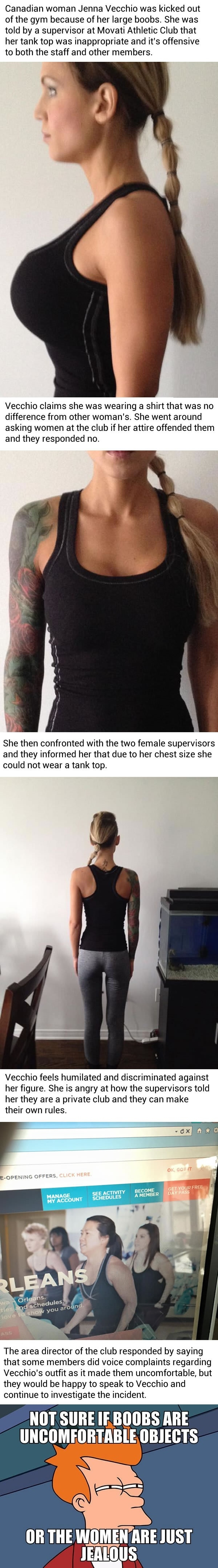 Woman got kicked out of gym because her b00bs are too big