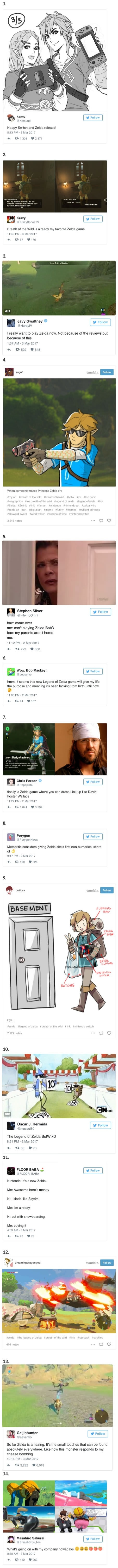Perfect internet reactions to Zelda Breath of the Wild