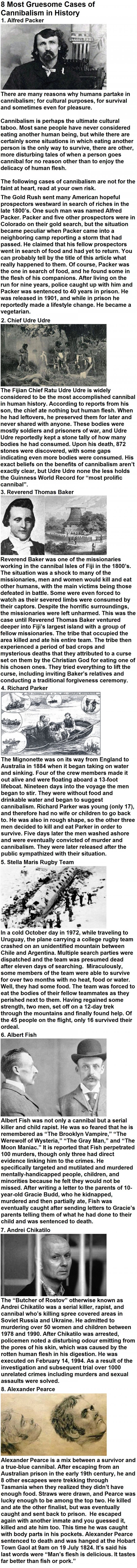 Gruesome cases of cannibalism