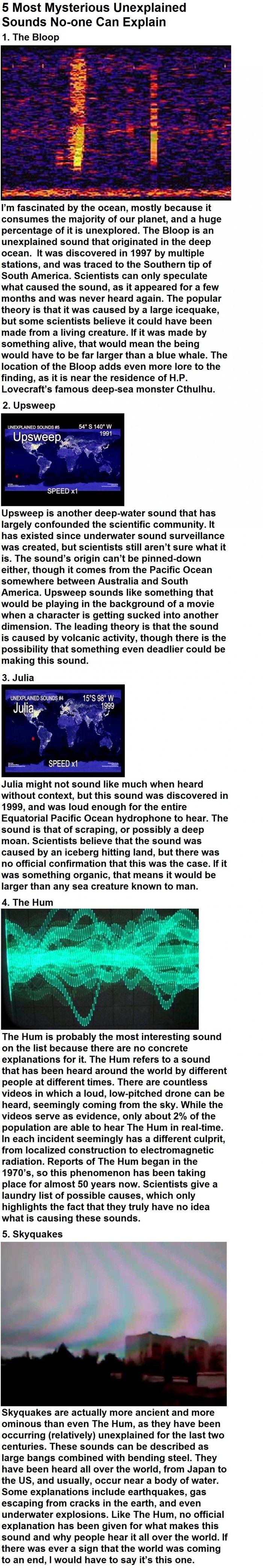 Mysterious unexplained sounds