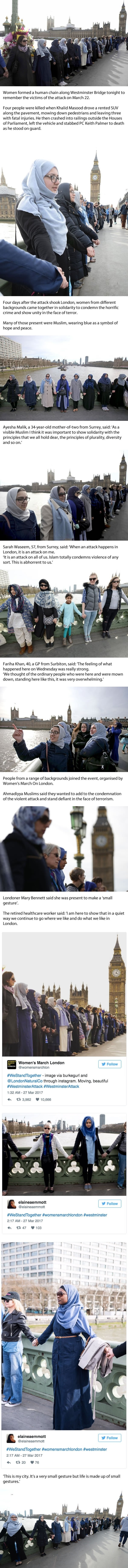 Muslim women gathered on Westminster Bridge