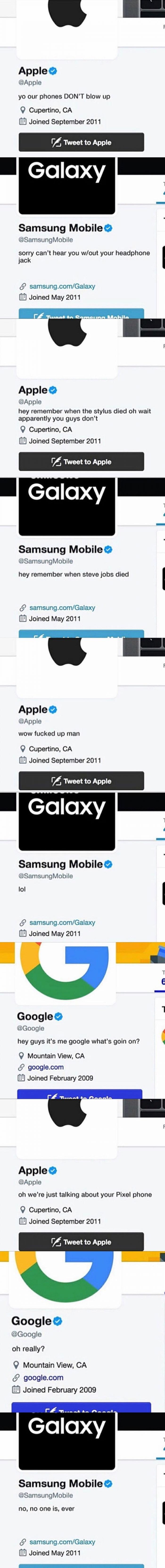 Tech giant wars on twitter