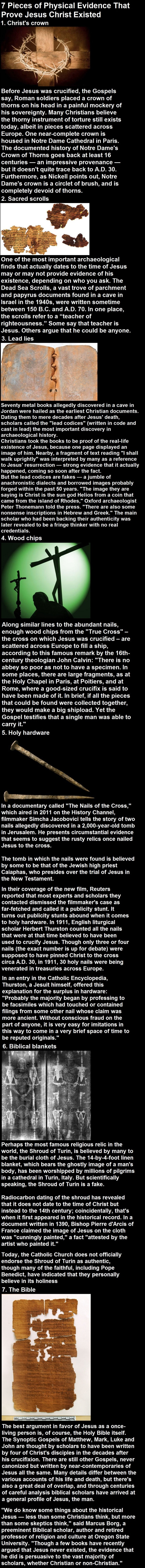 Physical evidence that prove Jesus existed