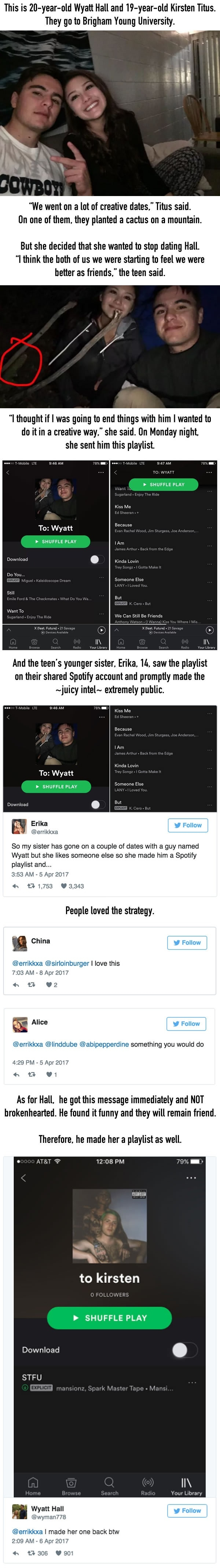 Teen made a spotify playlist to end things with a guy