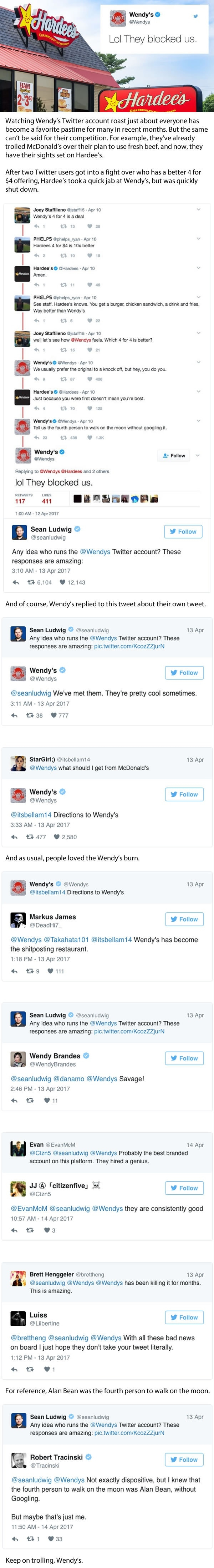 Wendy's trolled Hardee's so hard on twitter they got blocked