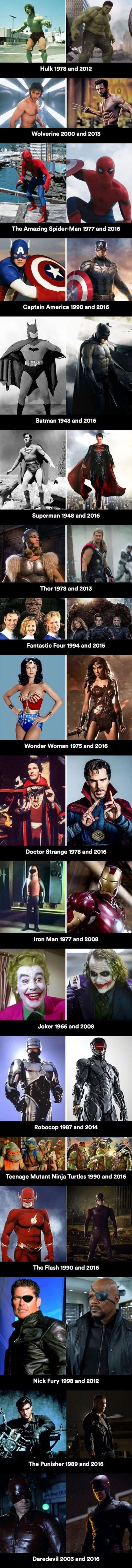 On screen superheros before and after