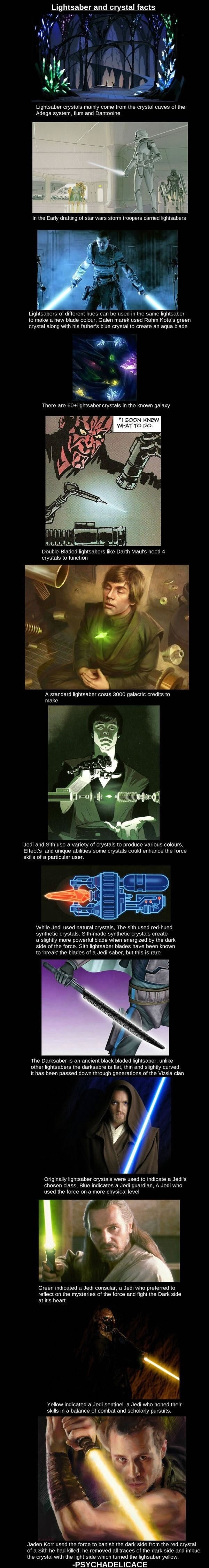 Lightsaber and crystal facts