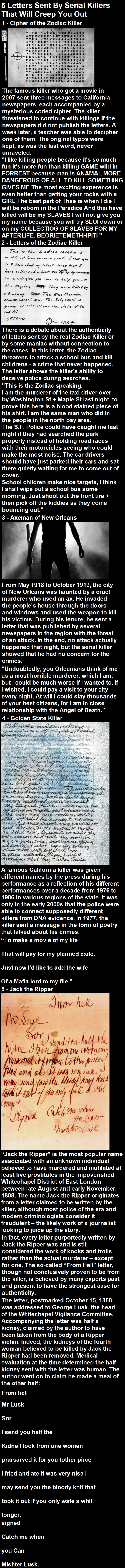 Creepy letters sent by serial killers