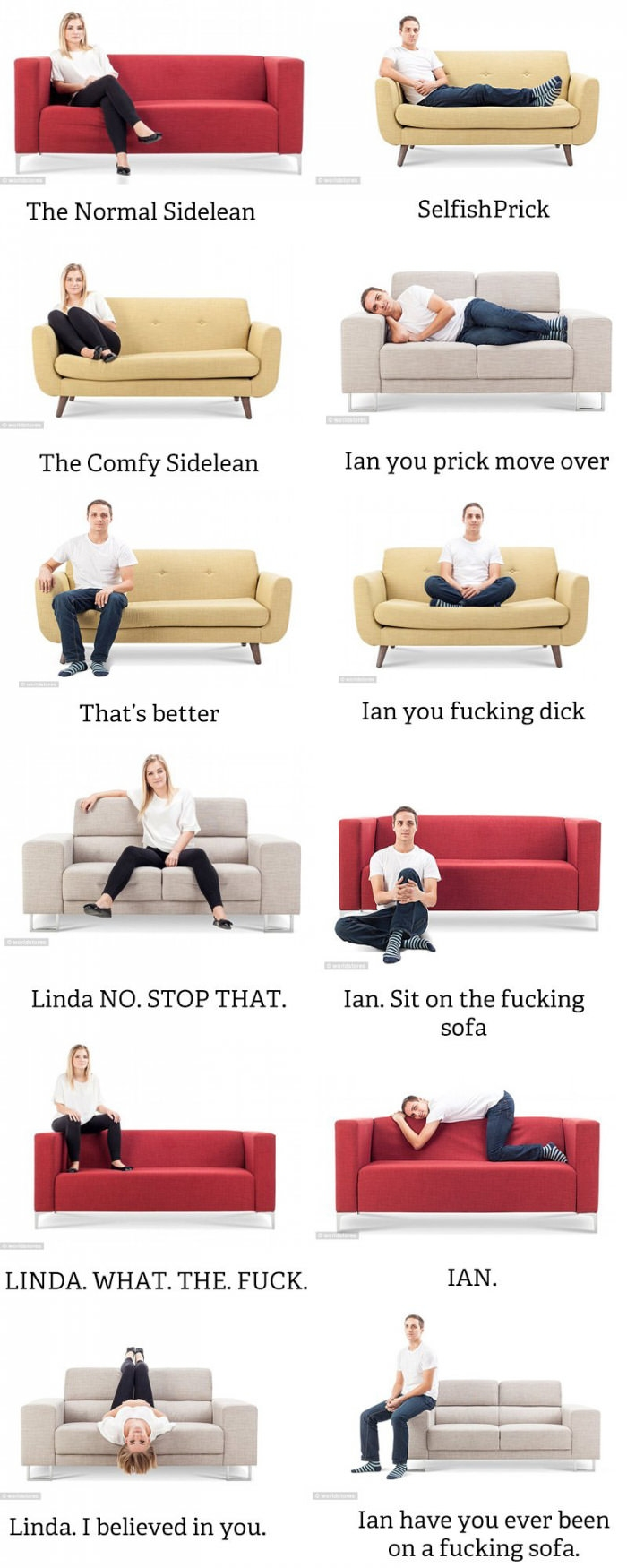 A guide to your favorite sofa sitting positions