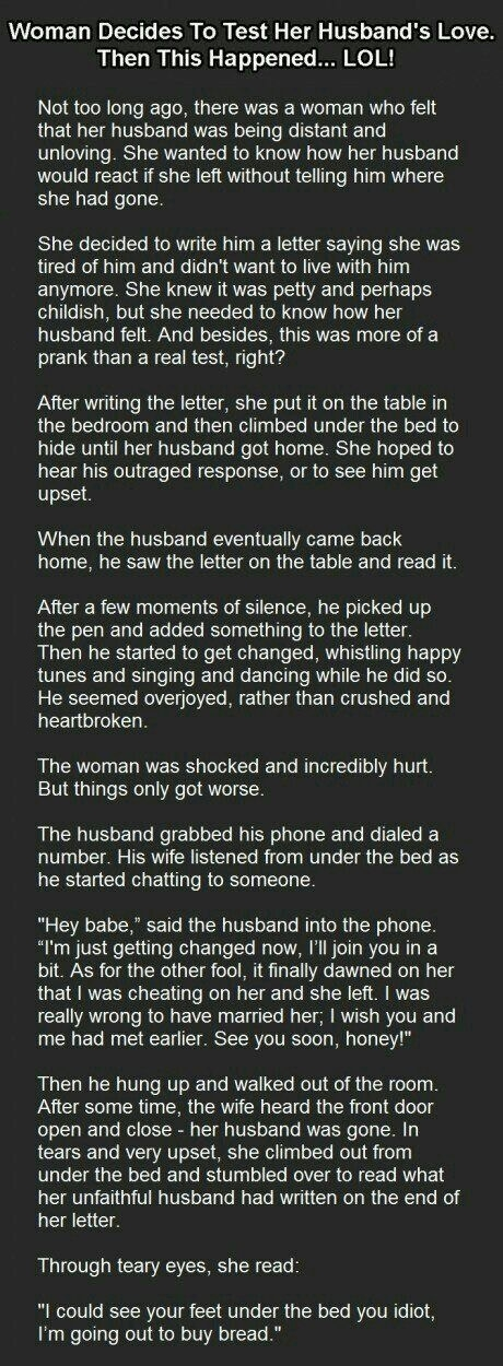 Woman tests husband's love