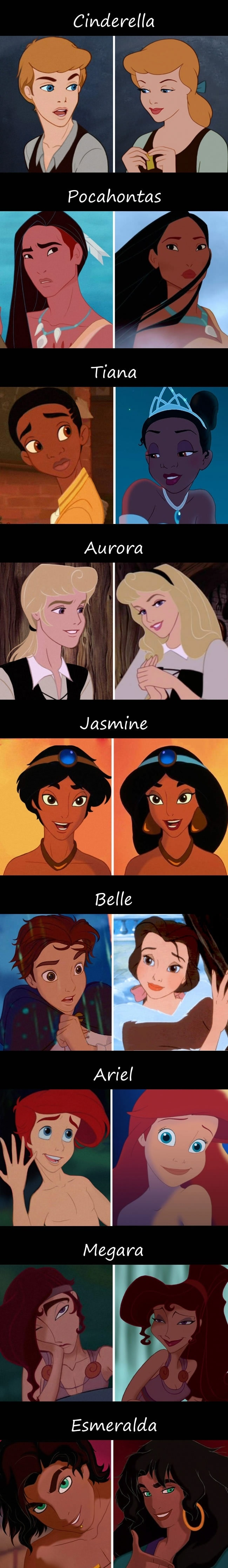 If Disney princesses were men