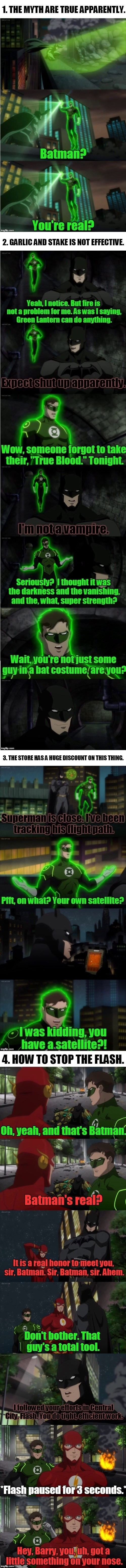 Reaction of Superhero to Batman the first time they meet him in Justice League War