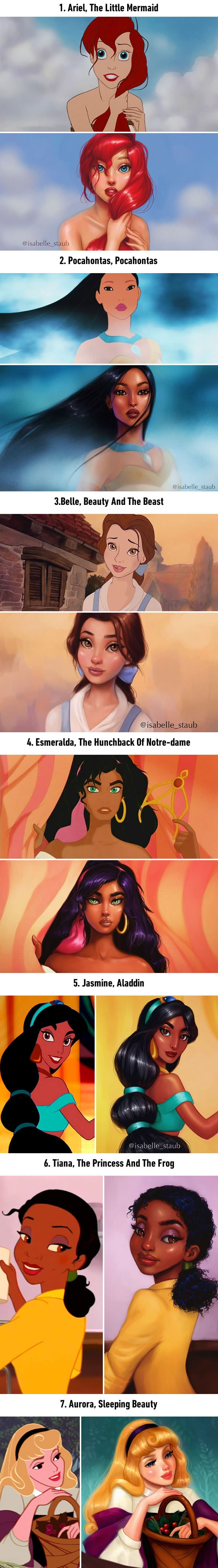Illustrator repaints Disney princesses