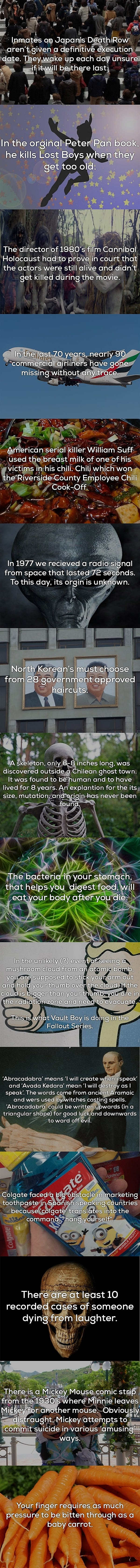 Some interesting and creepy facts