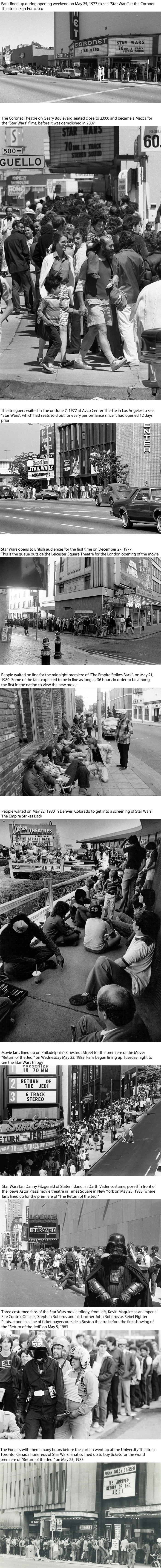Vintage photos of Star Wars fans lining up for the movie