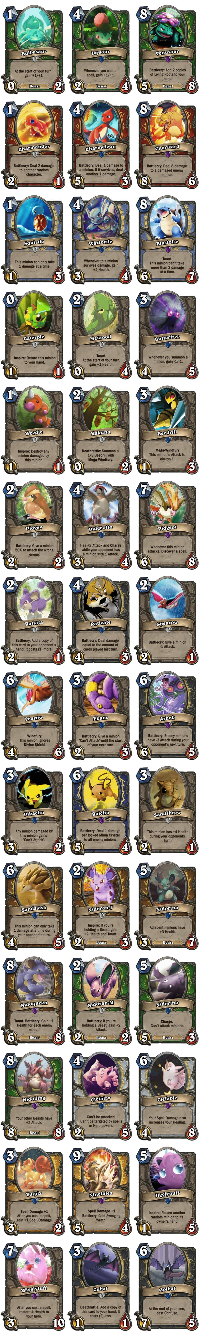 The first 42 Pokemon as Hearthstone cards