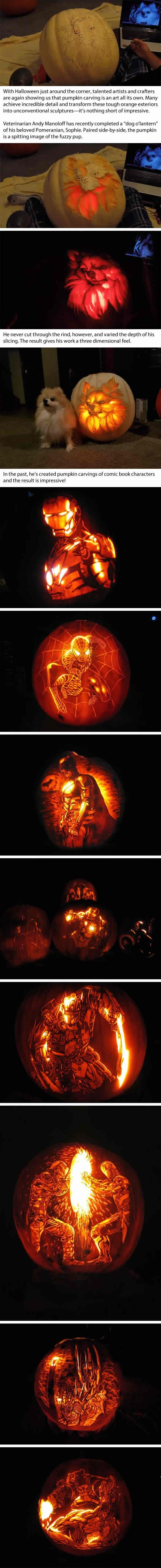 Veterinarian carves pumpkin into a lifelike Dog O' Lantern