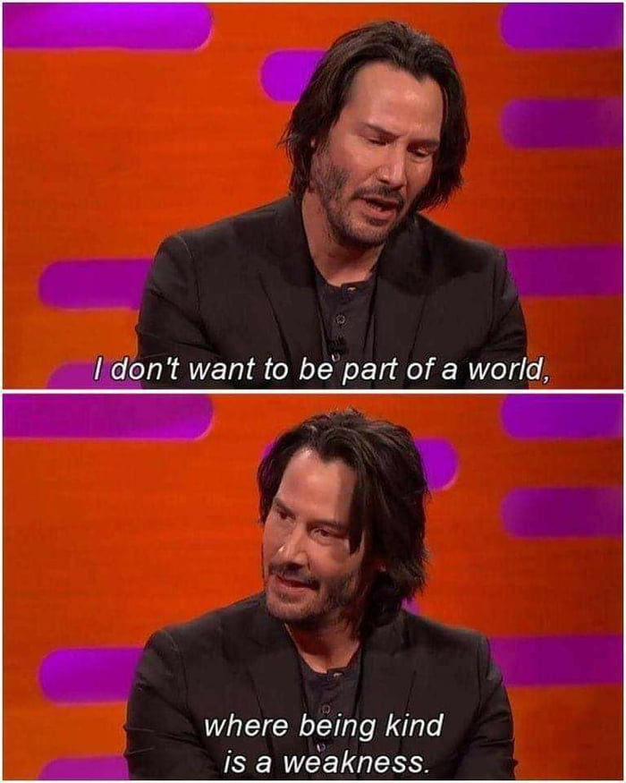 I don't want to be part of a world