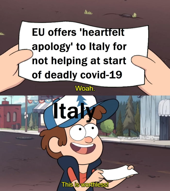 EU offers heartfelt apology to Italy