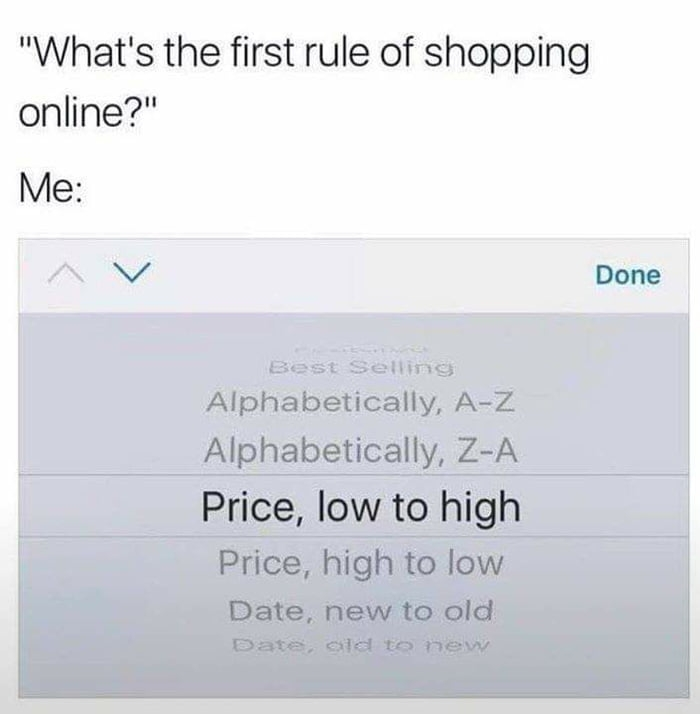 First rule of shopping