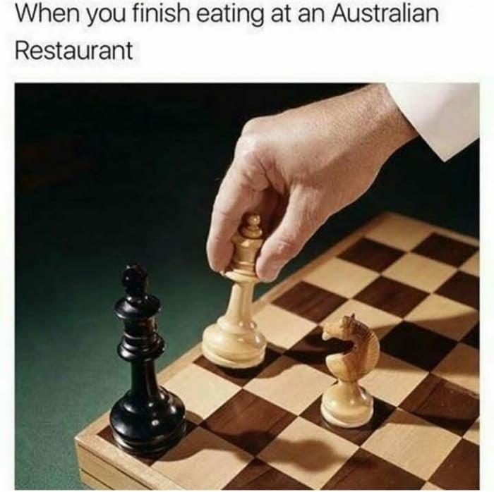 Eating at an Australian restaurant
