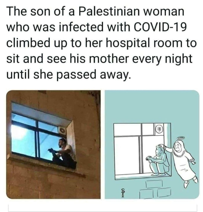 The son of a Palestinian woman who was infected with COVID-19