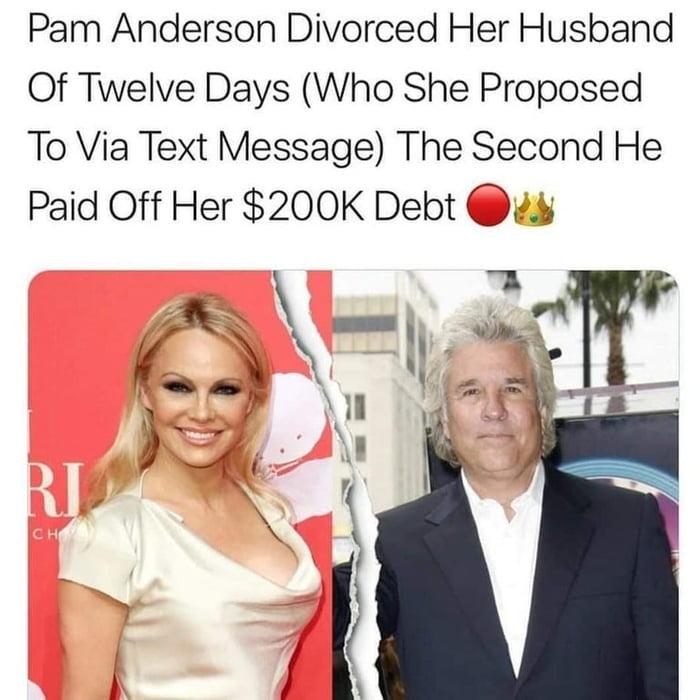 Pamela Anderson divorced her husband