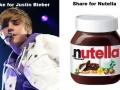 Justin Bieber vs Nutella