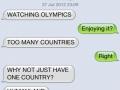 Dog watching Olympics