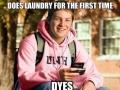 Freshman doing laundry