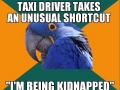 Going back home in a taxi