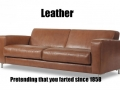 Leather sofa farting