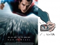 Behind Superman poster