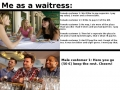 As a waitress