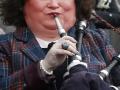 Susan playing bagpipes