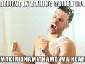 Enthusiastic shower singer