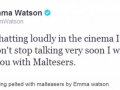Emma pelting maltesers